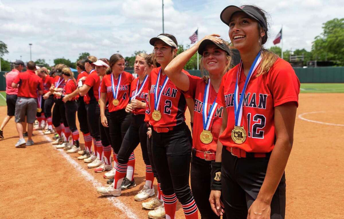 Huffman Hargrave stand with their gold medals after a 12-0 win in six innings over Anna during the UIL Class 4A state softball championship in Austin, Saturday, June 1, 2019. (Stephen Spillman / for Houston Chronicle)