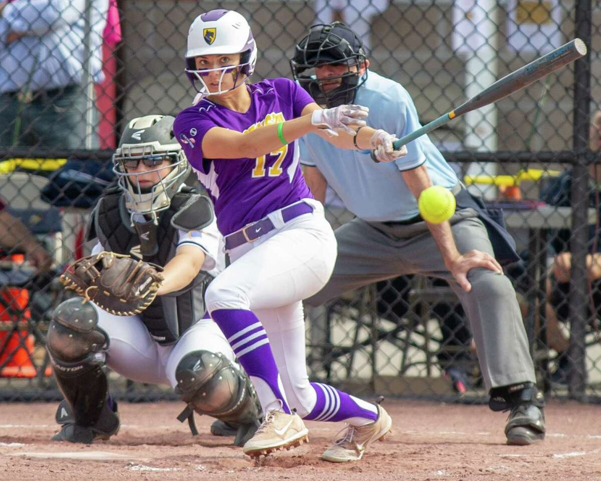 Ballston Spa outfielder Caroline Srokowski rips a single during the Class A semifinals against Sayville at Moreau Recreational Park on Saturday, June 15, 2019 (Jim Franco/Special to the Times Union.)