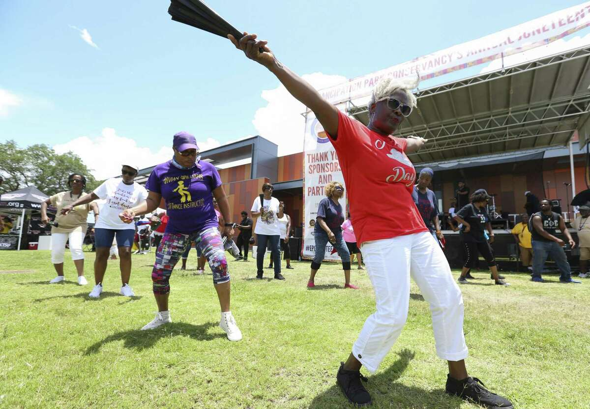 Beverly Thomas enjoys performing at the 147th annual Juneteenth Celebration with the Houston Parks and Recreation Line Dance Class at Emancipation Park on Saturday, June 15, 2019, in Houston.