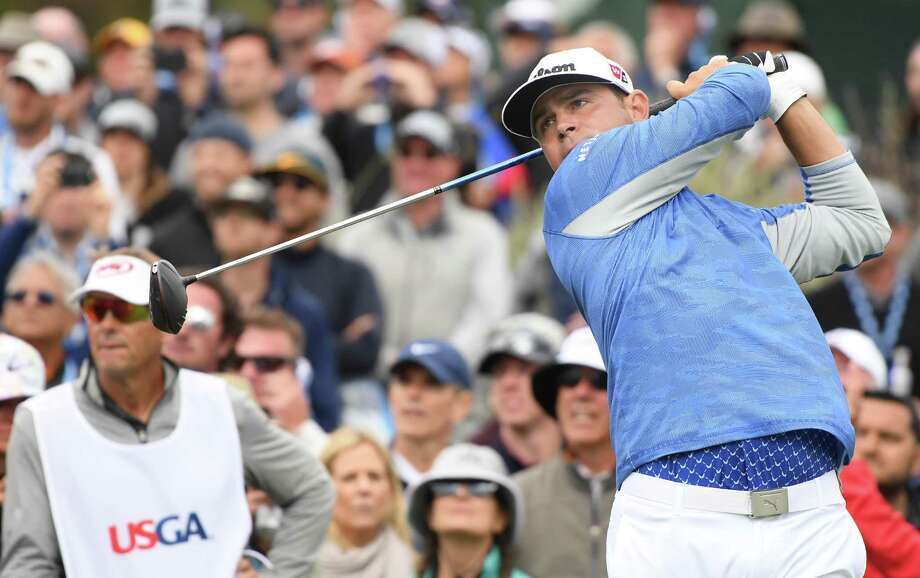 Gary Woodland of the United States plays a shot from the 13th tee during the third round of the 2019 U.S. Open at Pebble Beach Golf Links on June 15, 2019 in Pebble Beach, California. Photo: Harry How, Staff / Getty Images / 2019 Getty Images