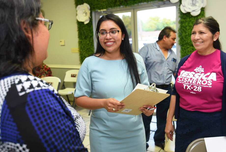 Challenger for Texas' 28th District Jessica Cisneros meets with friends and family after an event to push her campaign forward Thursday at Dream Party Creations Party Place. Photo: Danny Zaragoza / Laredo Morning Times / Laredo Morning Times