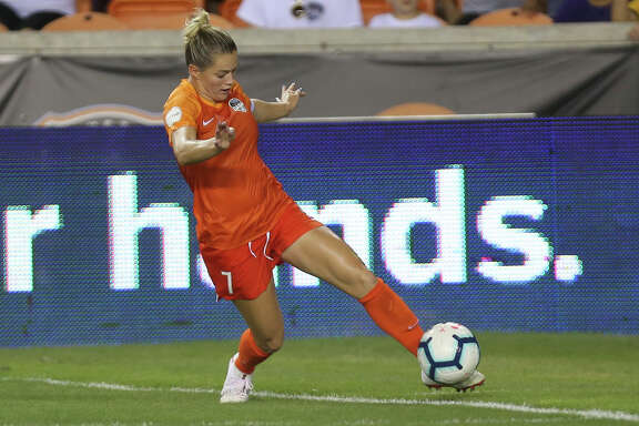 Houston Dash forward Kealia Ohai (7) tries to keep the ball in-bound during the second half of the NWSL game against the Orlando Pride at BBVA Stadium on Saturday, June 15, 2019, in Houston.