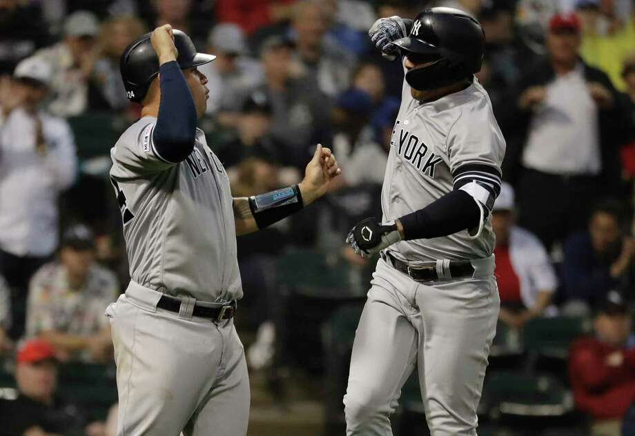 New York Yankees' Gleyber Torres, right, celebrates with Gary Sanchez after hitting a two-run home run during the fourth inning of a baseball game against the Chicago White Sox in Chicago, Saturday, June 15, 2019. (AP Photo/Nam Y. Huh) Photo: Nam Y. Huh / Copyright 2019 The Associated Press. All rights reserved.