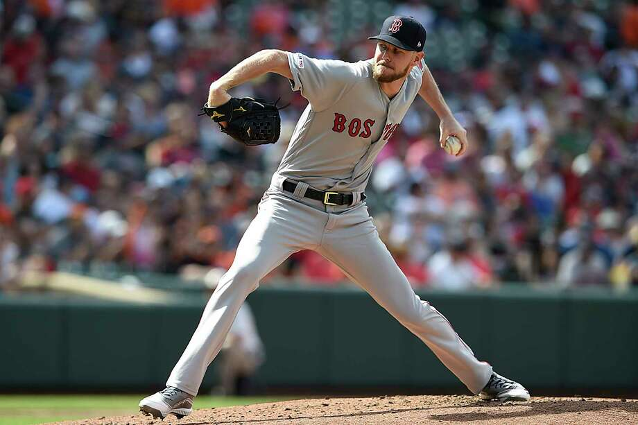 Boston Red Sox's Chris Sale throws against the Baltimore Orioles in the first inning of a baseball game Saturday, June 15, 2019, in Baltimore. (AP Photo/Gail Burton) Photo: Gail Burton / Copyright 2019 The Associated Press. All rights reserved