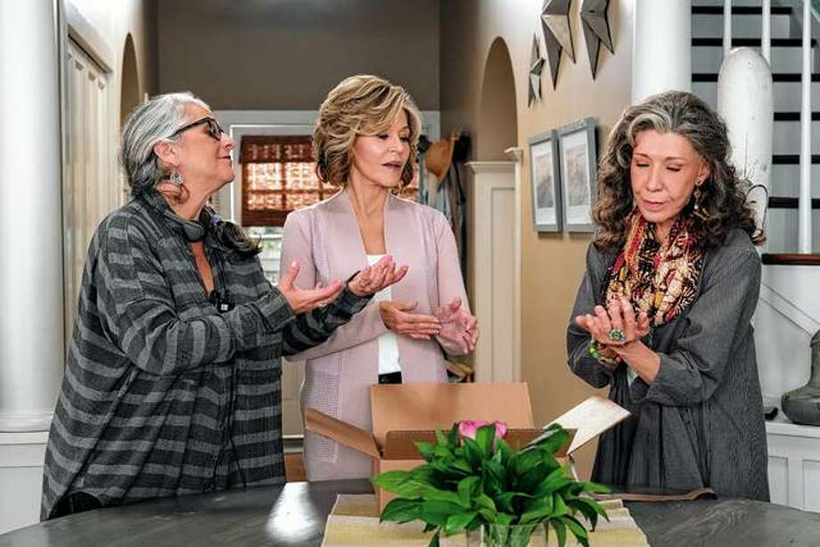 "Writer-producer Marta Kauffman (from left), Jane Fonda as Grace Hanson and Lily Tomlin as Frankie Bergstein discuss a scene in 2016 on the set of the Netflix series ""Grace and Frankie."" Photo: Melissa Mosley 