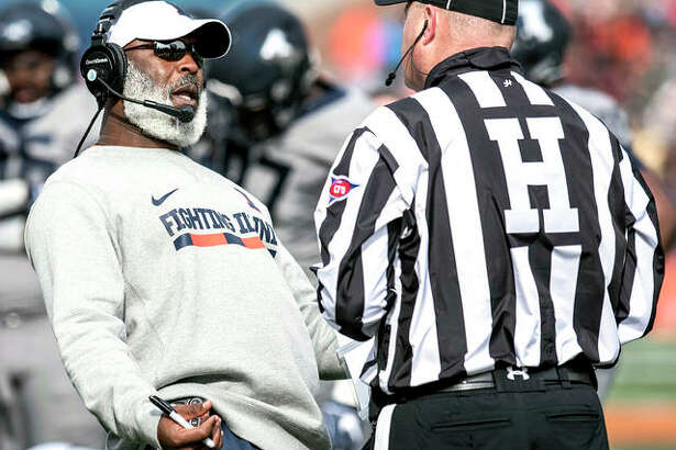 Illinois head coach Lovie Smith, who is also coaches the Illini defense, knows defensive improvement is critical next season. Above, Smith reacts to Purdue making a first down during a game last season in Champaign.