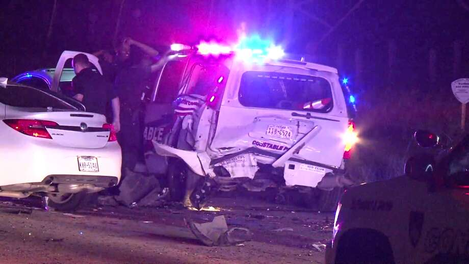 >A Precinct 4 deputy constable was injured in a crash with a suspected drunk driver early Sunday morning in North Houston. Photo: Metro Video Services