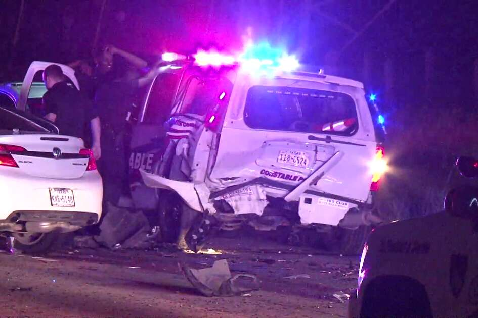 >A Precinct 4 deputy constable was injured in a crash with a suspected drunk driver early Sunday morning in North Houston.