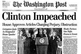 The front page of The Washington Post on Dec. 20, 1998, the day after President Bill Clinton was impeached by the House of Representatives.