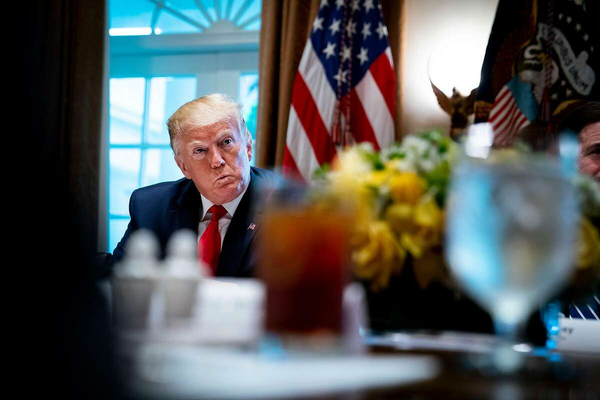 """President Donald Trump during a working lunch with governors in the Cabinet Room of the White House in Washington on Thursday, June 13, 2019. """"It is shocking to see an American president with a twisted sense of right and wrong,"""" Maureen Dowd writes. (Doug Mills/The New York Times)"""