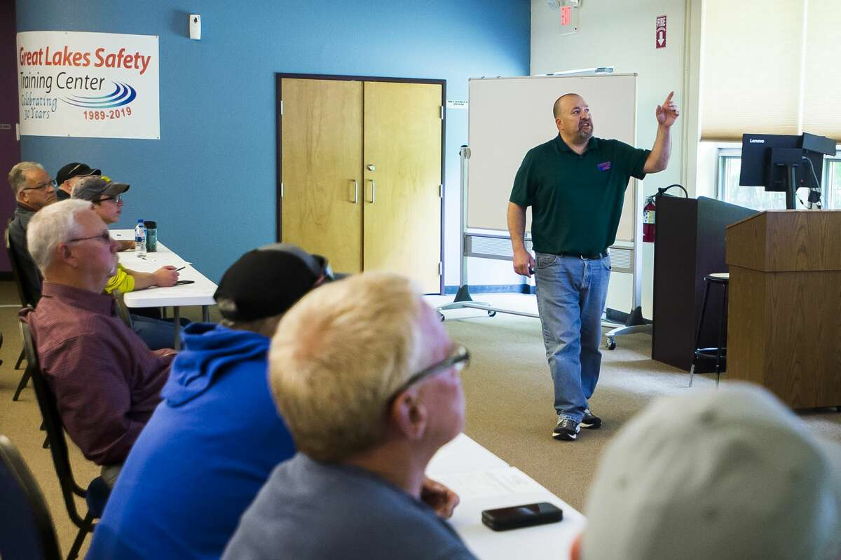 Greg Miller, a senior safety specialist with the Great Lakes Safety Training Center, leads a training session on Friday, June 14, 2019 in Midland. (Katy Kildee/kkildee@mdn.net)