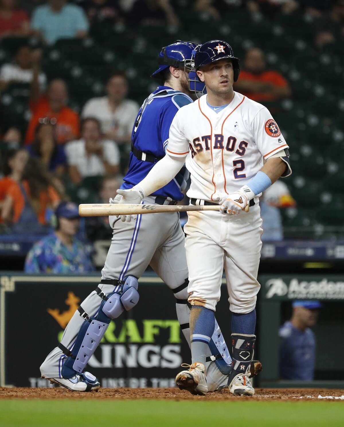 Houston Astros Alex Bregman (2) reacts after striking out to end the MLB baseball game at Minute Maid Park, Sunday, June 16, 2019. Astros lost to Toronto Blue Jays 12-0.