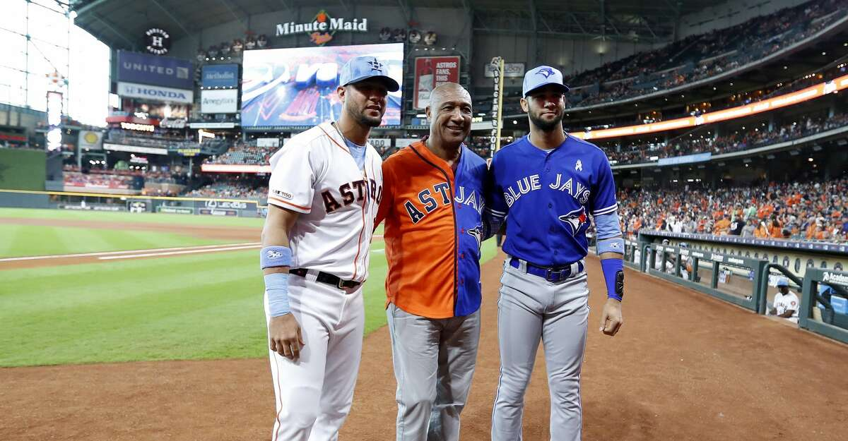 PHOTOS: Astros game-by-game Lourdes Gurriel Sr. wears a dueling jersey for both his sons Houston Astros first baseman Yuli Gurriel (10), and Toronto Blue Jays left fielder Lourdes Gurriel Jr. (13) before the start of the first inning of an MLB baseball game at Minute Maid Park, Sunday, June 16, 2019. Gurriel Sr. was preparing to throw out the first pitch with other Astros fathers. Browse through the photos to see how the Astros have fared in each game this season.