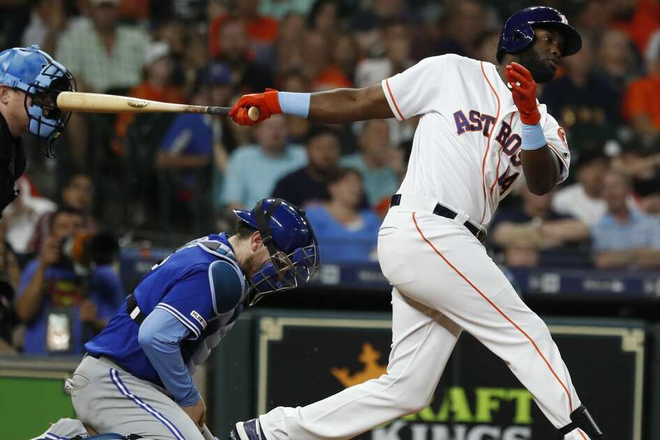 Houston Astros designated hitter Yordan Alvarez (44) strikes out during the sixth inning of an MLB baseball game at Minute Maid Park, Sunday, June 16, 2019.