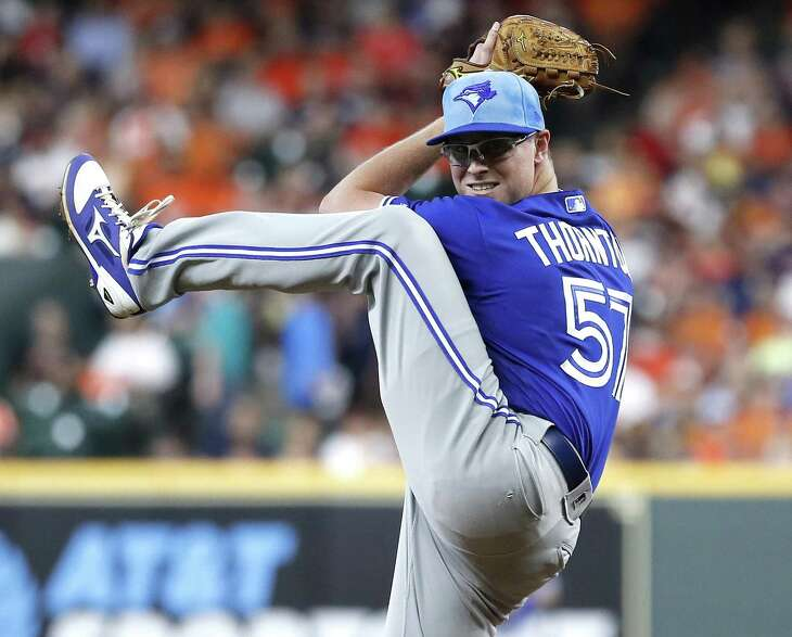 Blue Jays righthander Trent Thornton, relishing the chance to pitch against the organization that traded him, earned his first victory since May 14 in beating the Astros on Sunday.