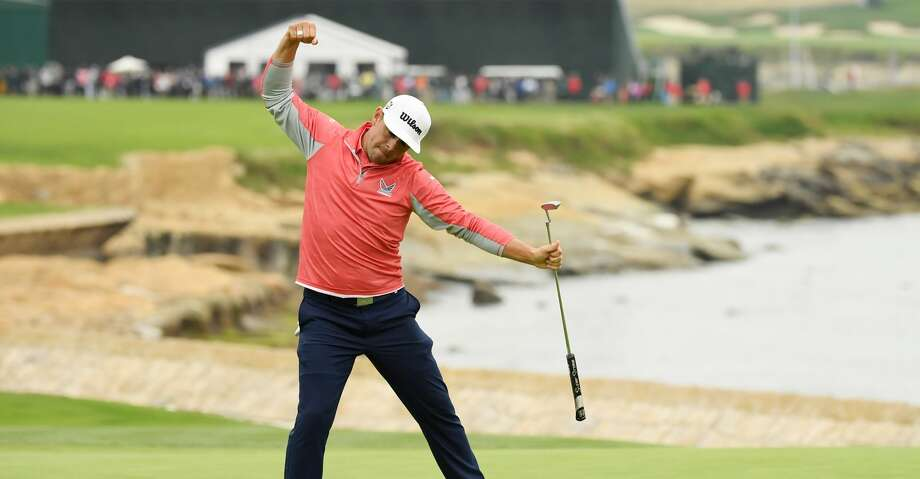 PEBBLE BEACH, CALIFORNIA - JUNE 16: Gary Woodland of the United States celebrates on the 18th green after winning the 2019 U.S. Open at Pebble Beach Golf Links on June 16, 2019 in Pebble Beach, California. (Photo by Ross Kinnaird/Getty Images) Photo: Ross Kinnaird/Getty Images