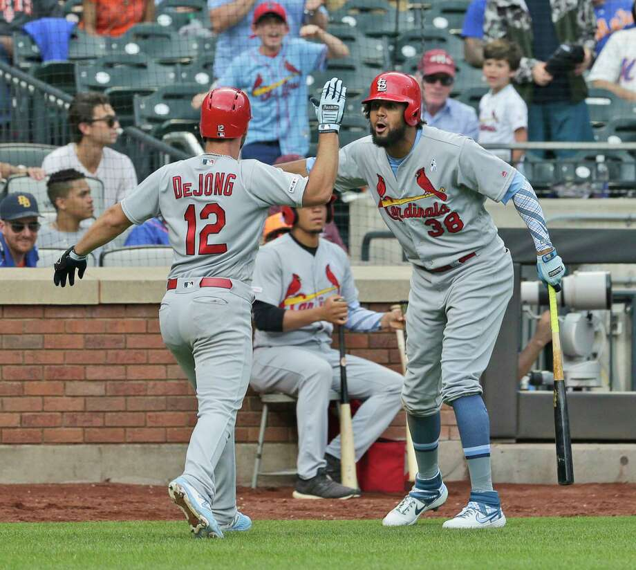St. Louis Cardinals' Jose Martinez, right, celebrates Paul DeJong's (12) solo home run during the eighth inning of a baseball game against the New York Mets at Citi Field, Sunday, June 16, 2019, in New York. (AP Photo/Seth Wenig) Photo: Seth Wenig / Copyright 2019 The Associated Press. All rights reserved.