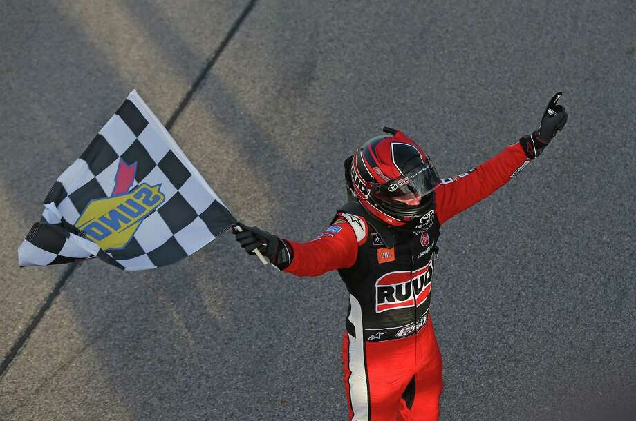 NEWTON, IOWA - JUNE 16: Christopher Bell, driver of the #20 Ruud Toyota, celebrates after winning the NASCAR Xfinity Series CircuitCity.com 250 Presented by Tamron at Iowa Speedway on June 16, 2019 in Newton, Iowa. (Photo by Matt Sullivan/Getty Images) Photo: Matt Sullivan / 2019 Getty Images