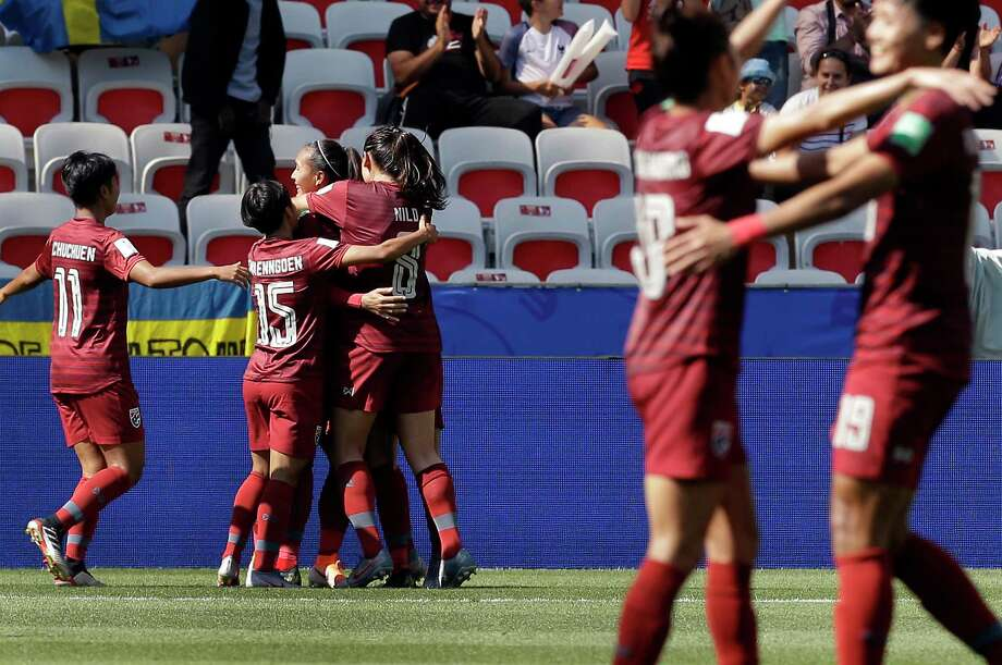 Thailand's players celkebrate their side's first goal scored by Kanjana Sung-Ngoen during the Women's World Cup Group F soccer match between Sweden and Thailand at the Stade de Nice in Nice, France, Sunday, June 16, 2019. (AP Photo/Claude Paris) Photo: Claude Paris / Copyright 2019 The Associated Press. All rights reserved