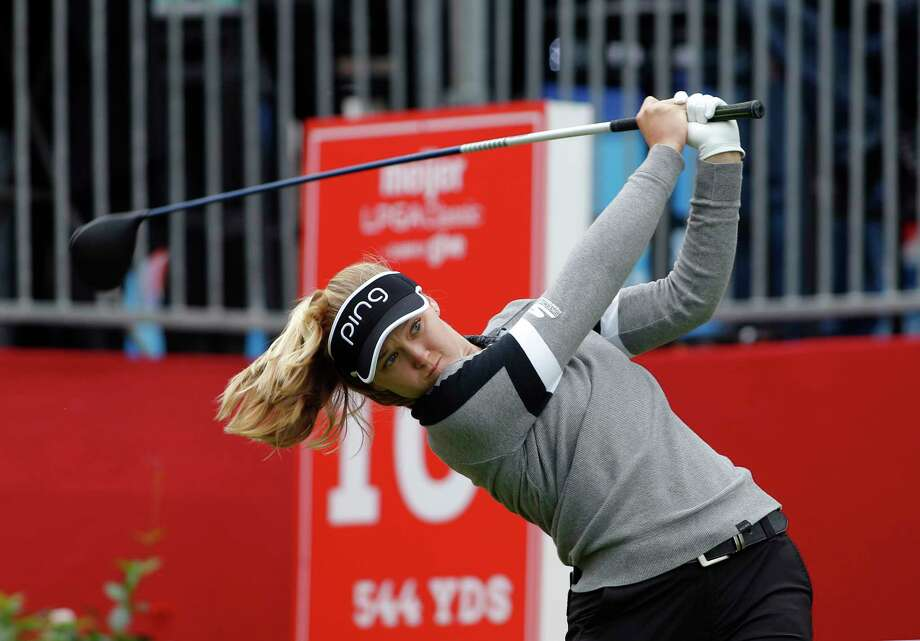 Brooke Henderson, of Canada, hits a tee shoot on the 10th hole during the final round of the Meijer LPA Classic golf tournament, Sunday, June 16, 2019, in Grand Rapids, Mich. (AP Photo/Al Goldis) Photo: Al Goldis / FR11125 AP