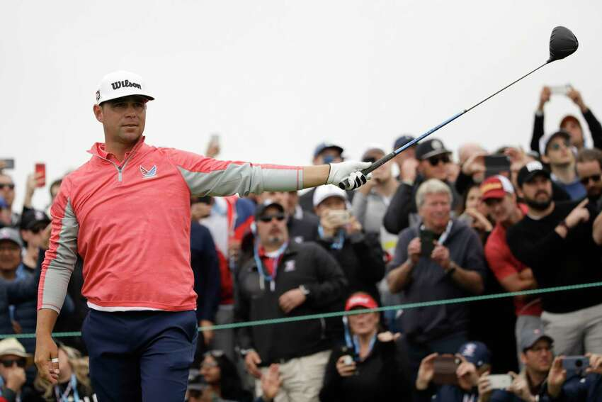 Gary Woodland watches his tee shot on the ninth hole during the final round of the U.S. Open Championship golf tournament Sunday, June 16, 2019, in Pebble Beach, Calif. (AP Photo/Marcio Jose Sanchez)