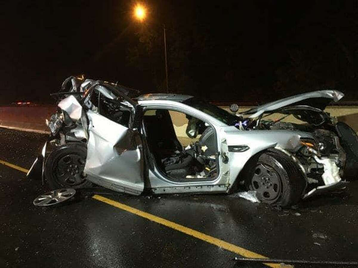 A state police trooper was seriously injured early Sunday, June 16, 2019 while three others suffered minor injuries after a car crashed into a parked cruiser in Fairfield. The trooper had stopped to help a car that was broken down on the median of Interstate 95 when a third vehicle veered into the left shoulder and struck the cruiser, state police said.
