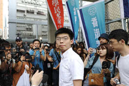 Joshua Wong, co-founder of Demosisto political party, stands outside the Lai Chi Kok Reception Center after being released from prison in Hong Kong on June 17, 2019.