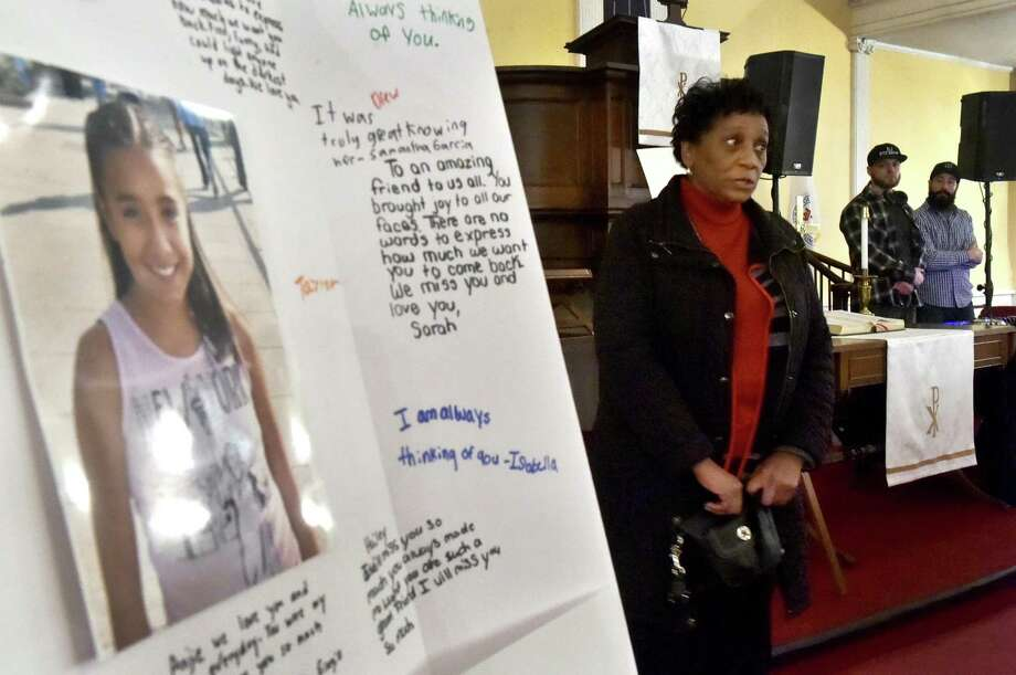 Friday, February 1, 2019: Sabrina Wright of Cheshire shares her sentiments during a Doolittle School parent organized vigil Friday evening at the First Congregational Church of Cheshire in remembrance of deceased Doolittle School student 11-year-old Anjelita Estrada. Photo: Peter Hvizdak / Hearst Connecticut Media / New Haven Register