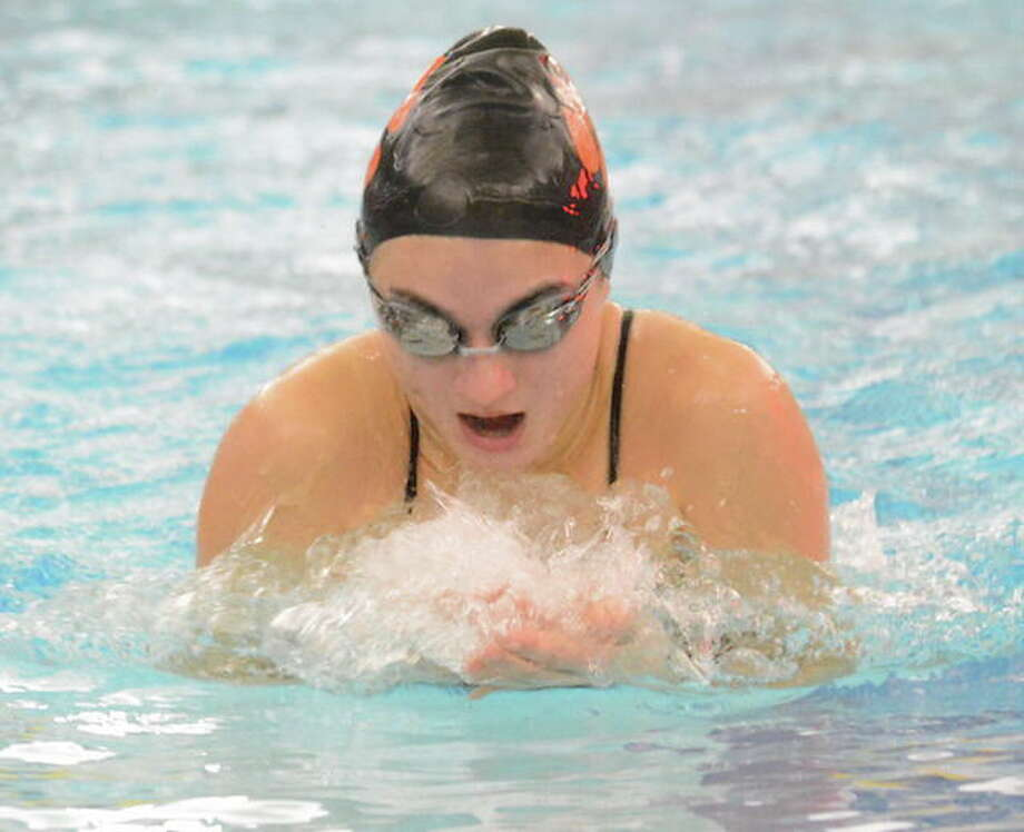Hanna Sotolongo competes in the breaststroke event during Ridgefield's victory over Trumbull on Monday. — Andy Hutchison photo