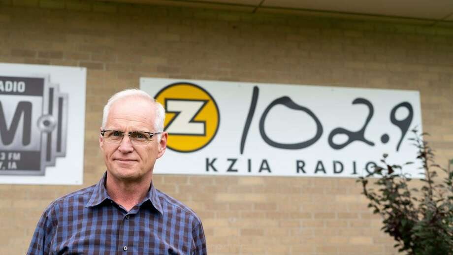Scott Schulte in front of the KZIA radio station in Cedar Rapids, Iowa. Schulte, now a Ridgefield resident, signed off the air on Sept. 7. — Gabe Havel photo