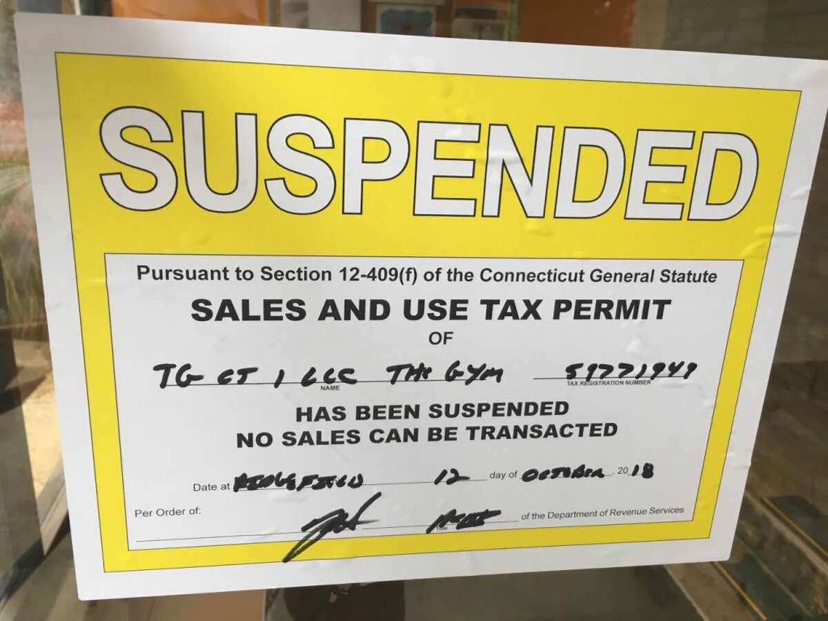 Thursday's suspension notice from the State of Connecticut. Posted on The Gym's door at 66 Grove Street. - Steve Coulter photo