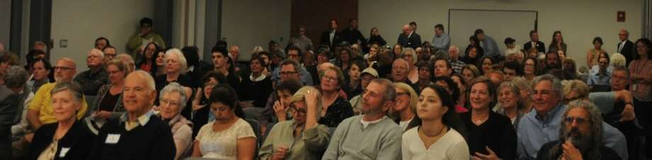 Around 200 residents attended the League of Women Voters debate at the Ridgefield Library Oct. 2. — Macklin Reid photo