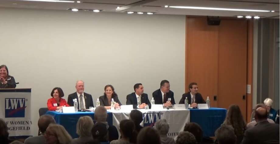 Last Tuesday's Ridgefield League of Women Voters debate featured six candidates running for office in the 2018 election. State Rep. Michael Ferguson, middle right, is facing Democratic challenger Ken Gucker, second from the left, for the 138th District seat in the state House of Representatives which covers northern Ridgefield.