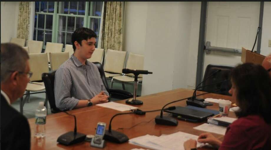 Peter Gutstein speaks to the Board of Selectmen on Sept. 26. Gutstein, a 16-year-old Ridgefield resident who attends St. Luke's School in New Canaan, is the newest member of the town's Youth Commission. — Macklin Reid photo
