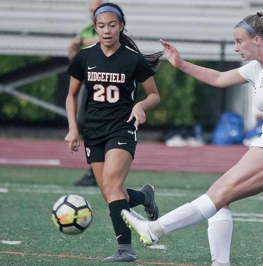 Freshman Julia Bragg scored one of the goals in Ridgefield's 2-0 win over Darien on Saturday. — Scott Mullin photo / Scott Mullin ownership