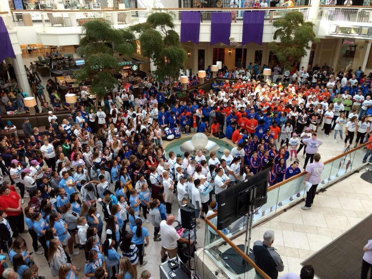 More than 1,000 people packed into the mall to support an end to domestic violence and to support the Women's Center.