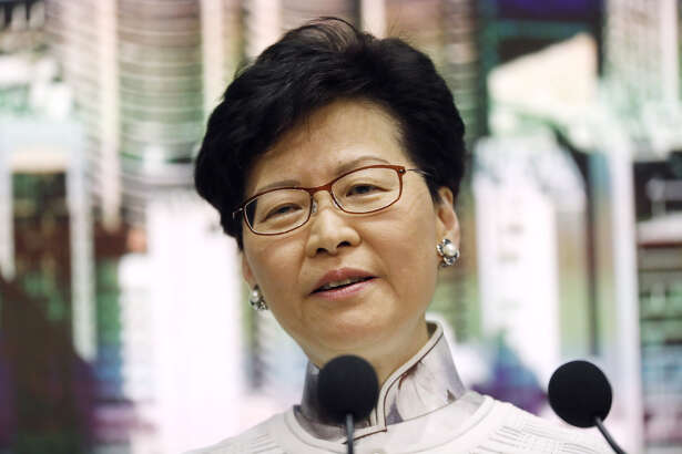 Carrie Lam, Hong Kong's chief executive, during a news conference in Hong Kong on June 15, 2019.