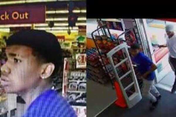 Authorities say a pair of males seen in these surveillance stills attacked a woman in her 60s, stealing her purse at a Family Dollar in Cleveland.