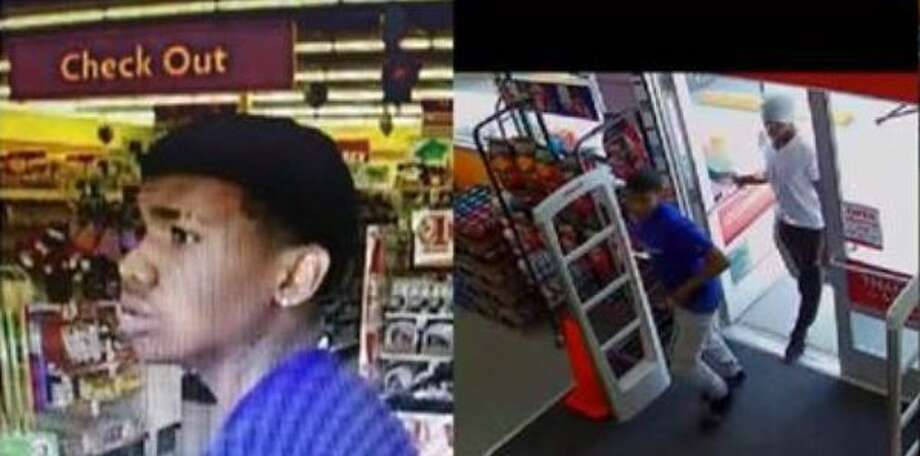 Authorities say a pair of males seen in these surveillance stills attacked a woman in her 60s, stealing her purse at a Family Dollar in Cleveland. Photo: Courtesy Of The Montgomery County Sheriff's Office