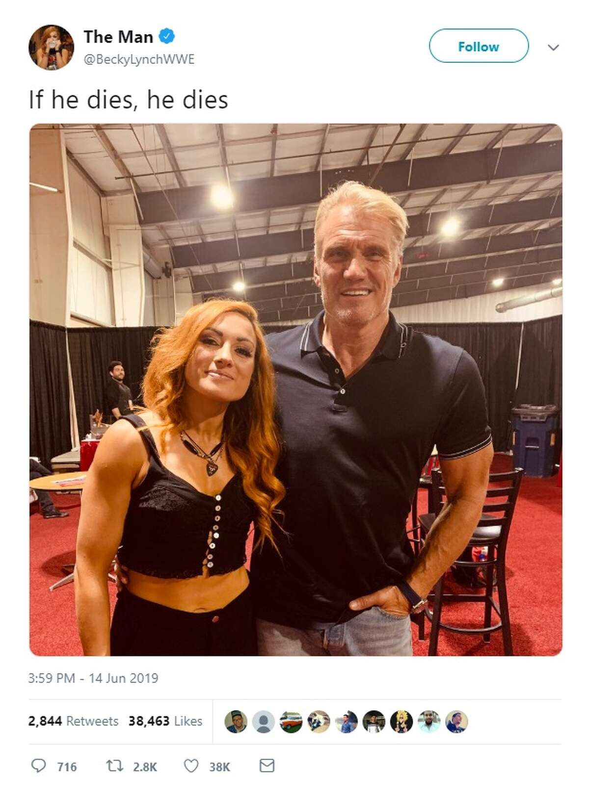 WWE Becky Lynch takes a picture with Dolph Lundgren while at Celebrity Fan Fest last weekend.