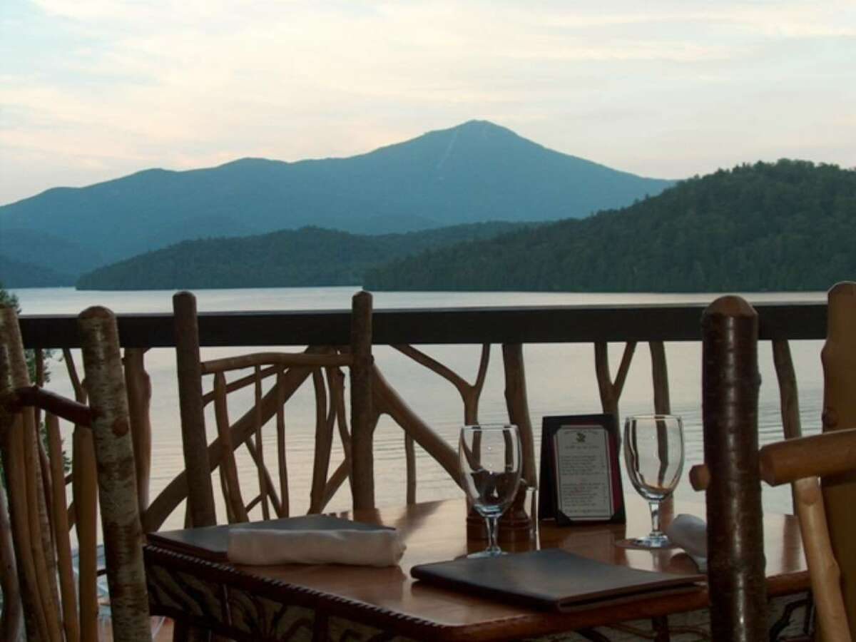 The deck of the Lake Placid Lodge, outside Maggie's Pub, offers a stunning view of the water. Try the