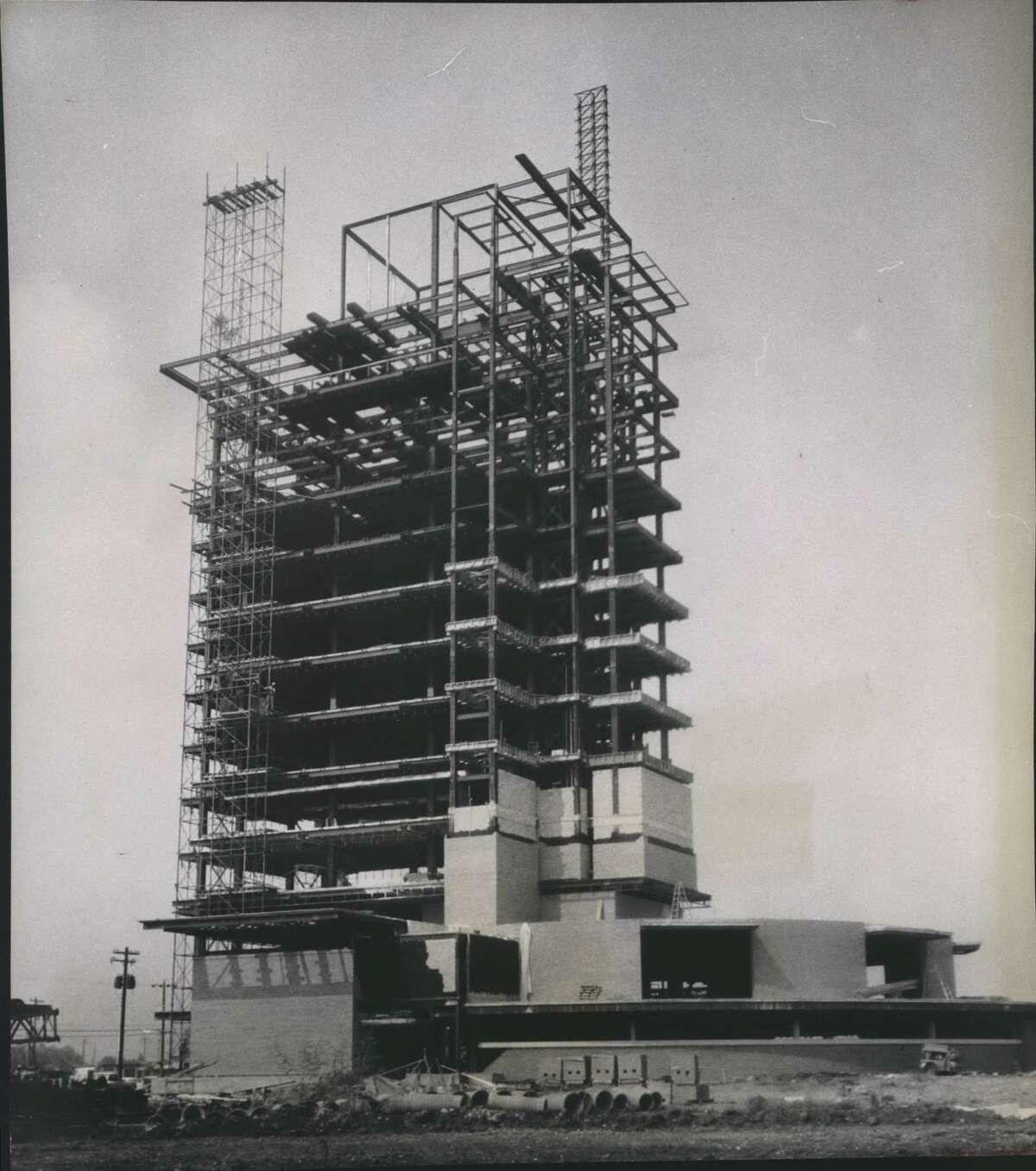 The skyscraper under construction.