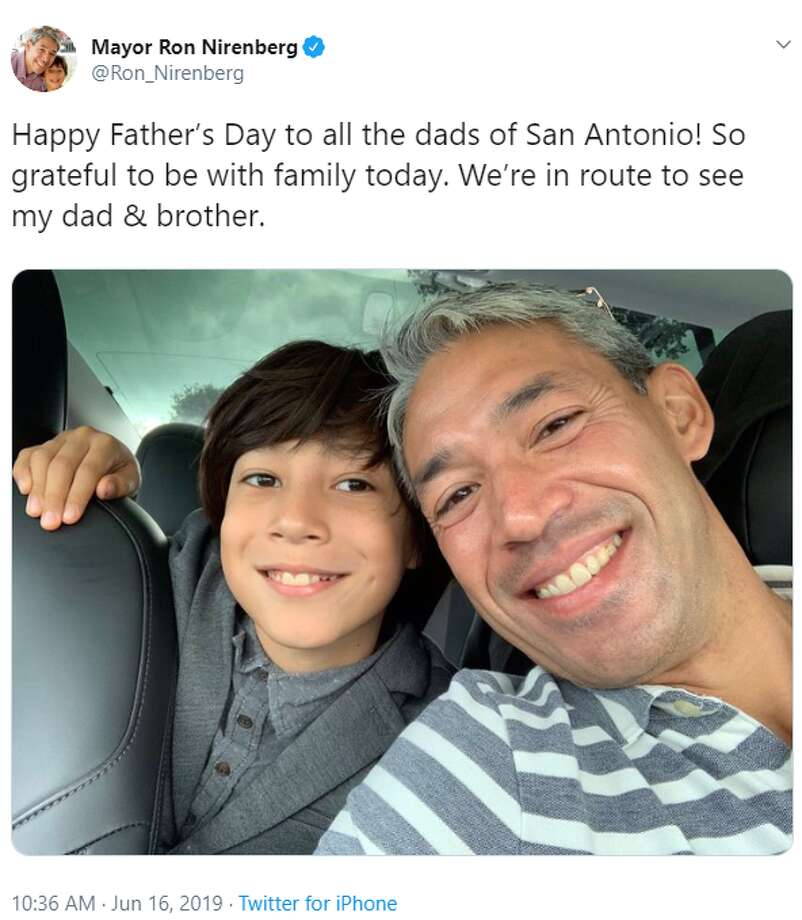 Mayor Ron Nirenberg:Happy Father's Day to all the dads of San Antonio! So grateful to be with family today. We're in route to see my dad & brother. Photo: Instagram, Twitter Screengrab