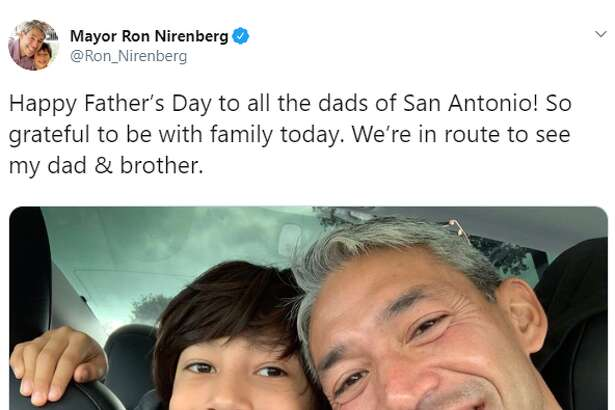 Mayor Ron Nirenberg:Happy Father's Day to all the dads of San Antonio! So grateful to be with family today. We're in route to see my dad & brother.