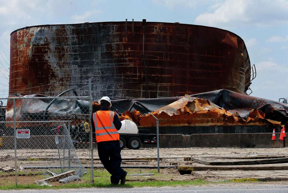 Work continues at the ITC tank farm after the petrochemical that occured there back in March. Photographed Tuesday, May 14, 2019, in Deer Park, Texas.