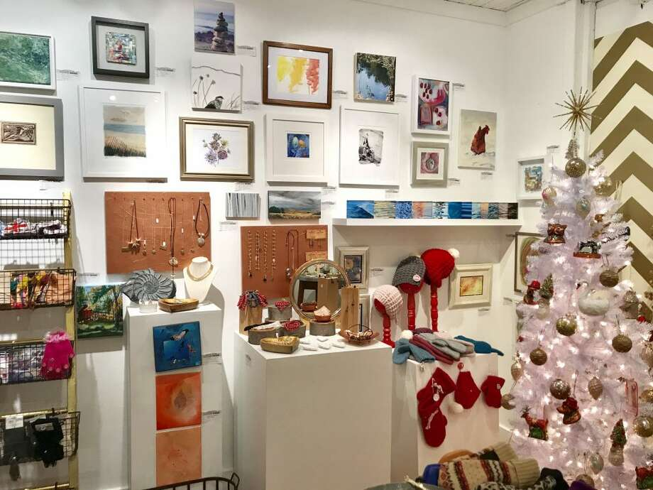 """A sampling of the original """"small works"""" by artist guild members for sale and all priced $200 and under, along with some of the wares for sale at the 14th annual Festive Home event, open through Sunday, Dec. 23. — Mary Harold photo"""