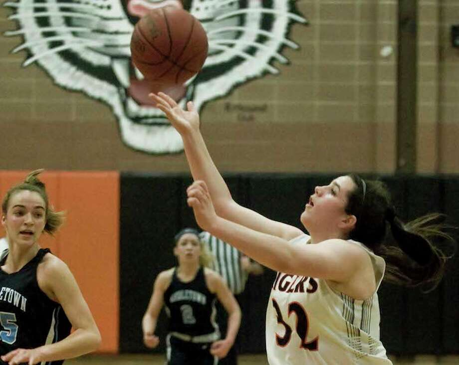 Sabrina Grizzaffi is among the many returning players for the Ridgefield girls basketball team. — Scott Mullin photo / The News-Times Freelance