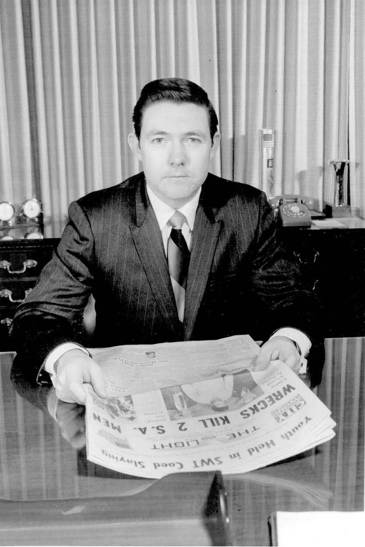 Frank A. Bennack Jr. photographed in 1970 at the San Antonio Light. After serving as publisher of the daily newspaper, Bennack moved to Hearst Corp. in New York and soon became its CEO.