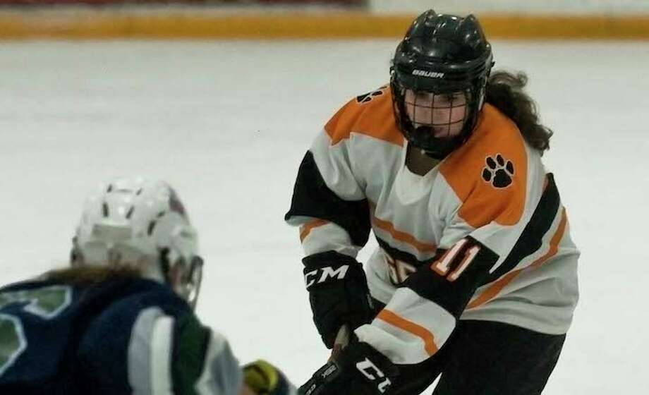 Junior defenseman Chiara Signorelli is one of many returnees for the Ridgefield/Danbury girls hockey team. — Scott Mullin photo