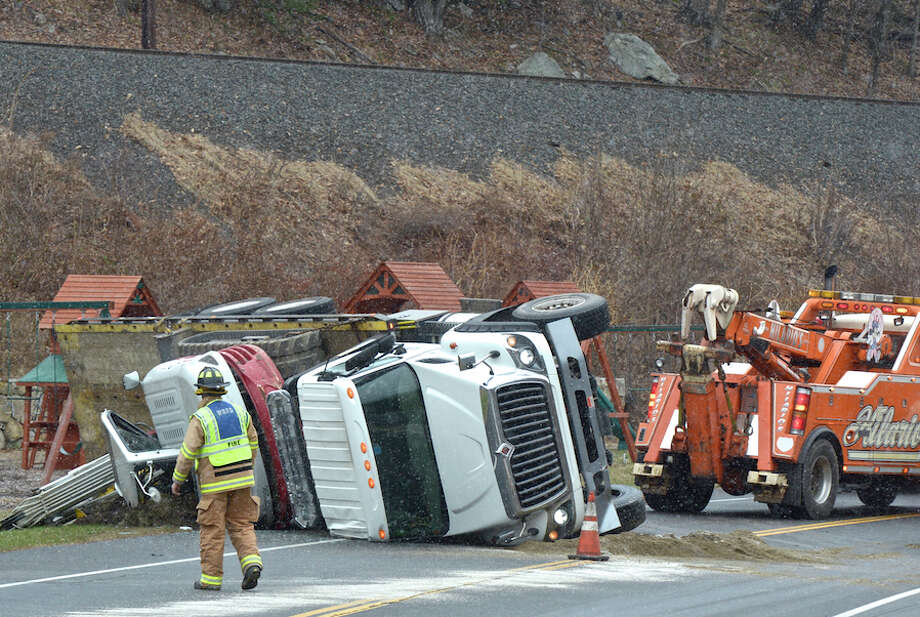 A truck overturned on Route 7, snarling traffic Friday afternoon, Nov, 28. — John Voorhees photo / The News-Times